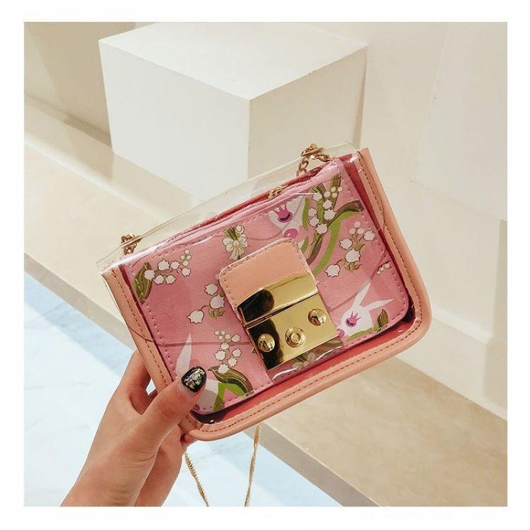 Pink Flowers Cross-body Purse Cute Clear Handbags fc481993f38b0