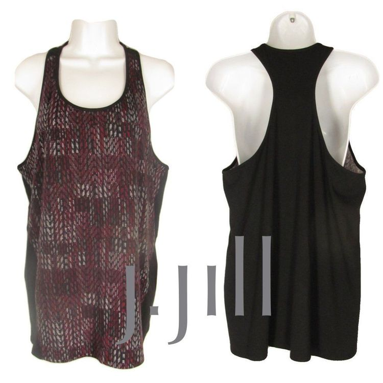 fc7926549 Pure J Jill L Racer Back Tank Top Black Gray Burgundy Geometric Cotton Knit  NEW #