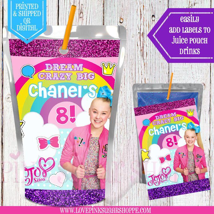 c83f9bb64f Jojo Siwa Juice Pouch Labels - Capri Sun Labels - Jojo Birthday Party - Jojo  Siwa - Jojo Party - Jojo Water - Digital - Printable - Printed
