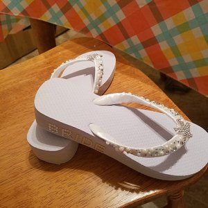 b071def284b5e Bridal Flip Flops Wedges.Wedding Flip Flops Sandals.White Flip
