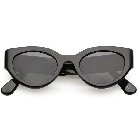 c91c5f87b9090 Bold Wide Arms Thick Frame Cat Eye Sunglasses Flat Oval Lens 49mm (Shiny  Black   Smoke)