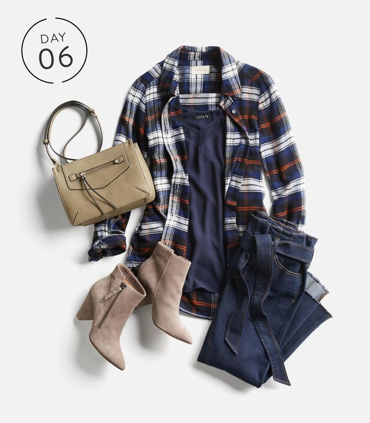 Stitch Fix Stylist:  This look is so adorable!!!  Really like those belted jeans, and the feminine plaid shirt/jacket