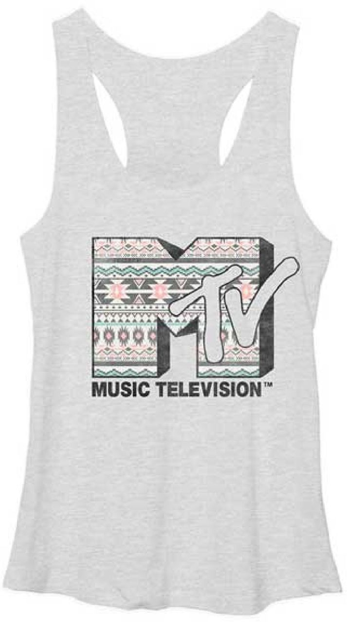 b95ad05ea4a69 This MTV tank top spotlights the classic MTV Music Televsion logo from the  famous cable channel. During the 1980s