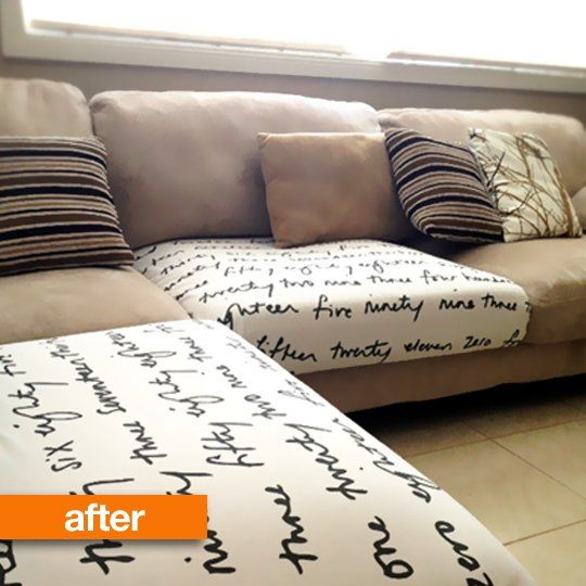 How to Hide damaged couch cushions | Before & After: From Scribbles to a Clever Surprise
