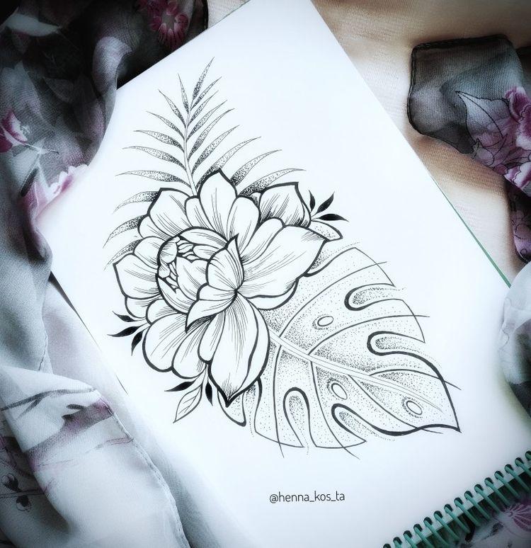 Tropical flower and leaf tattoo
