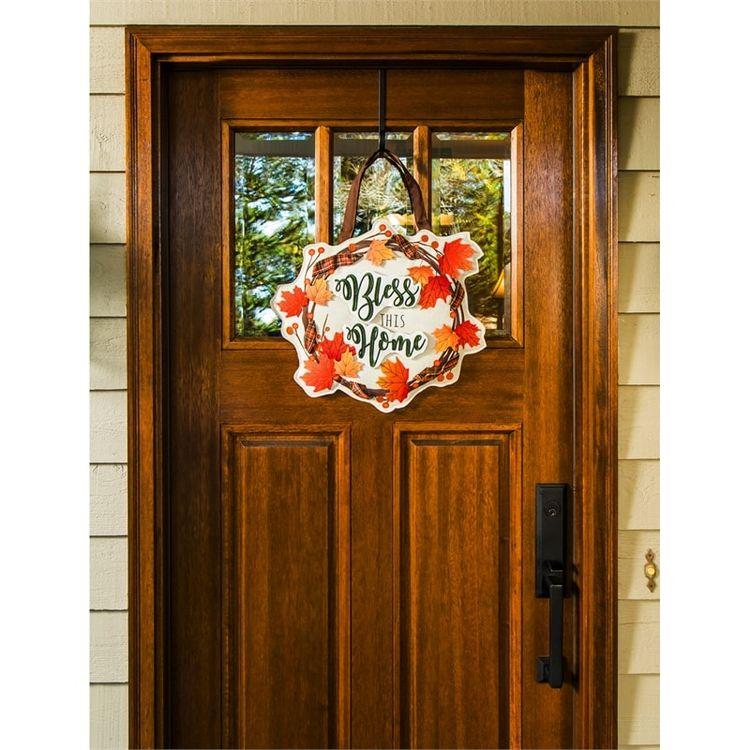 "Fall Wreath Burlap Door Decor - 19"" x 17"" - Evergreen"