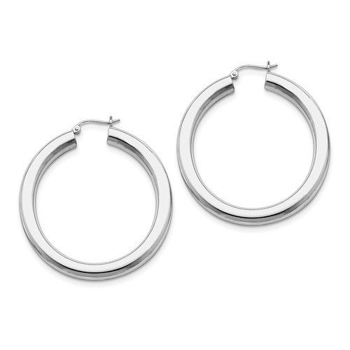 f91c4ed01 Sterling Silver Rhodium-Plated 5.00mm Polished 1.6IN Hoop Earrings (1.7IN x  1.7IN )