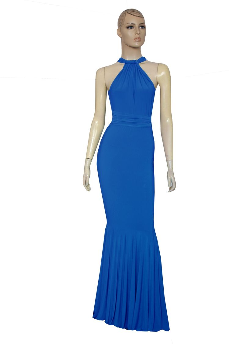 5eb35ef2f2a Fishtail evening dress. Royal blue bridesmaids gown. Infinity maxi dress.  Convertible plus size outfit.