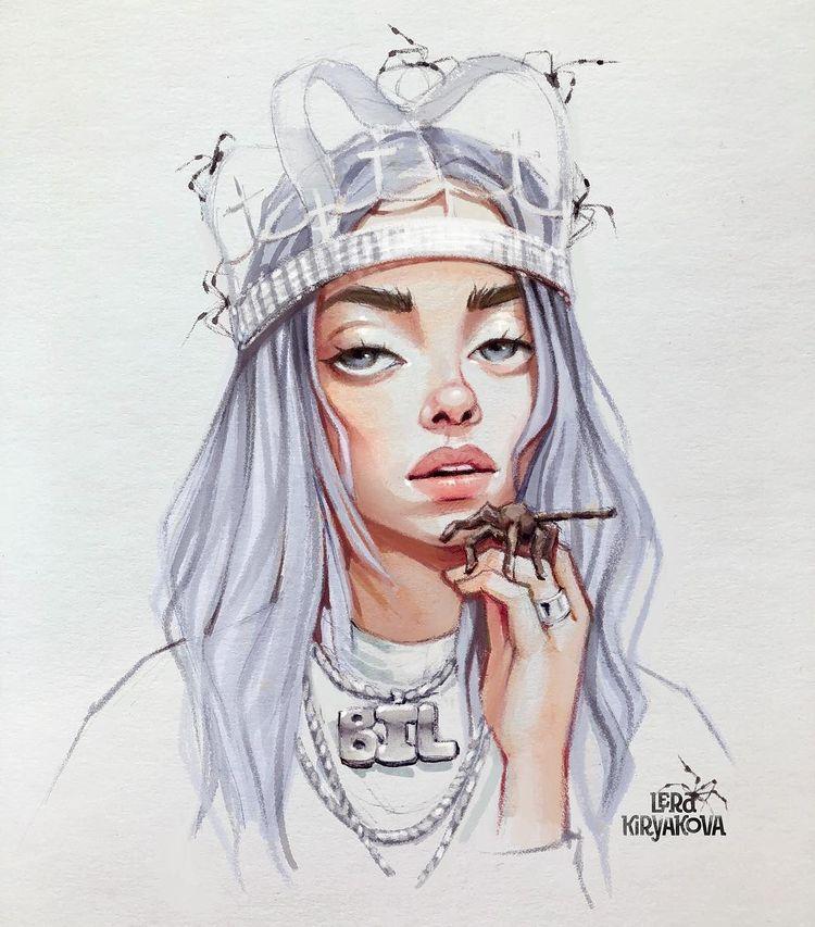 """Lera Kiryakova 🌟 Illustrator no Instagram: """"""""акончились чернила в половине маркеров, пришлось доделывать в фотошопе 🕷🕷🕷"""""""