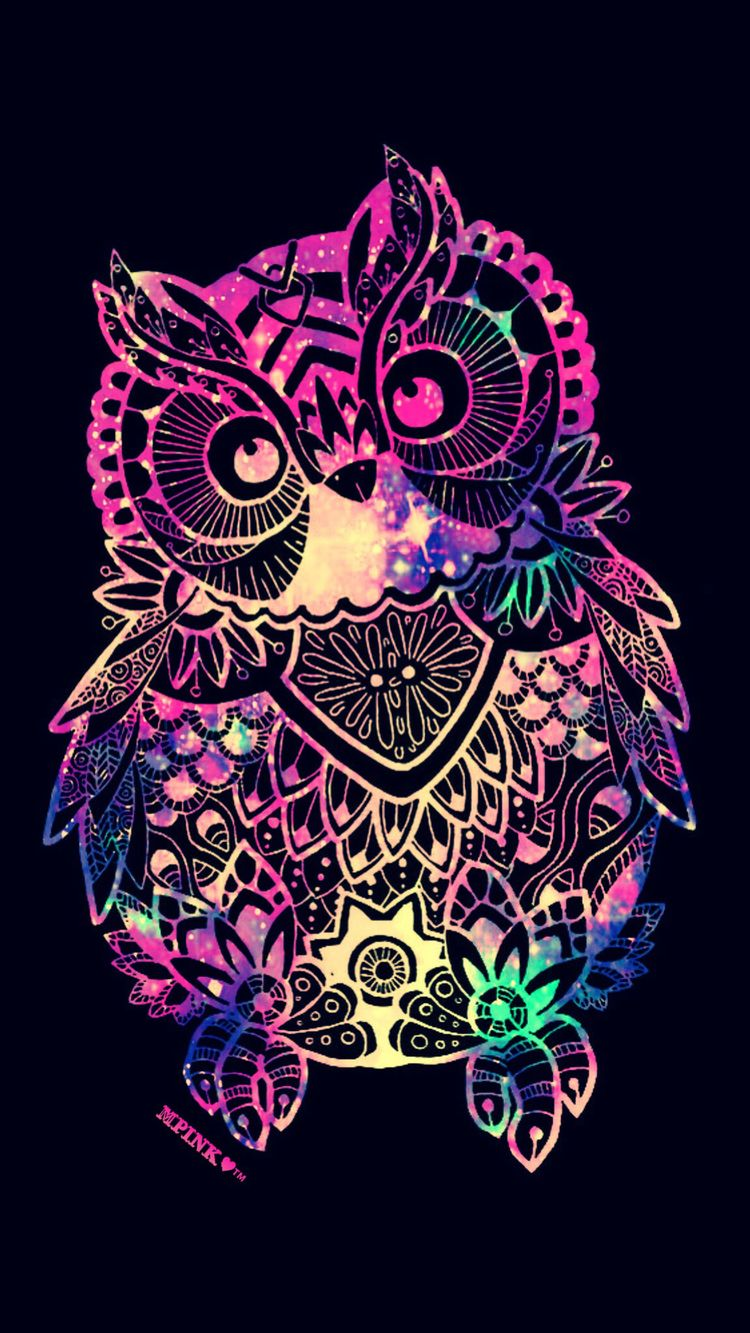Tribal Owl Galaxy Wallpaper Androidwallpaper Iphonewallpaper Wallpaper Galaxy Sparkle Glitter Lockscreen Pretty Pink Cute Animal Girly Owl
