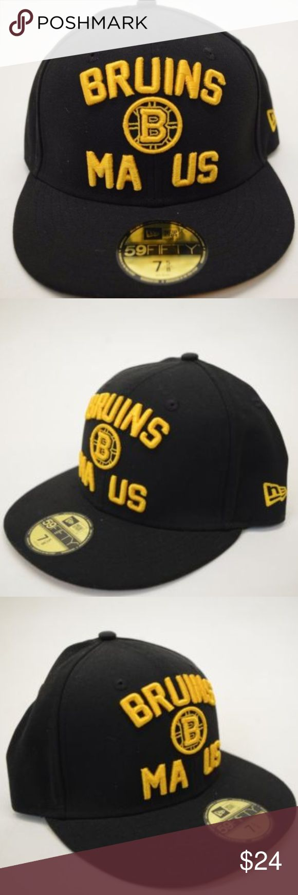 48cd69b0 Men's New Era Boston Bruins 59Fifty Sz 7 5/8 Cap NEW!! Men's New Era Boston  Bruins 59Fifty MA US 7 5/8Black Fitted Cap TRUE FITTED Closed back style ...