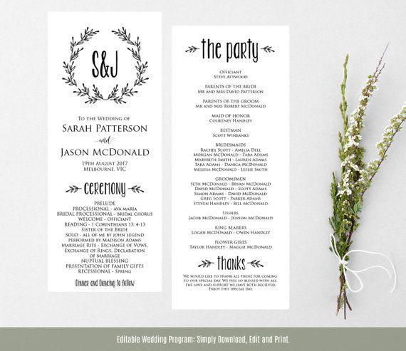 wreath wedding program printable ceremony program templat