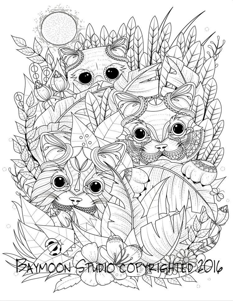 Gatos en el jardín para colorear página páginas por BAYMOO