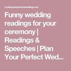 Humourous wedding readings