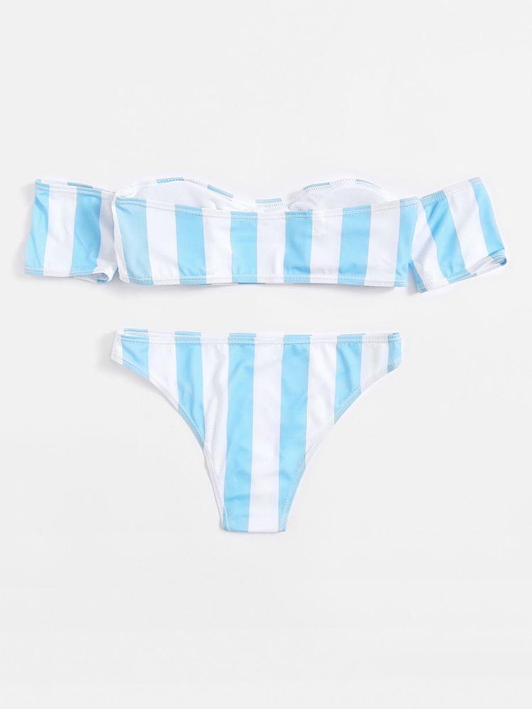212d8f8ce0 Shop Block Striped Off The Shoulder Bikini Set online. SheIn offers Block  Striped Off The