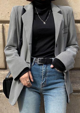 [CHUU] Houndstooth Blazer Jacket