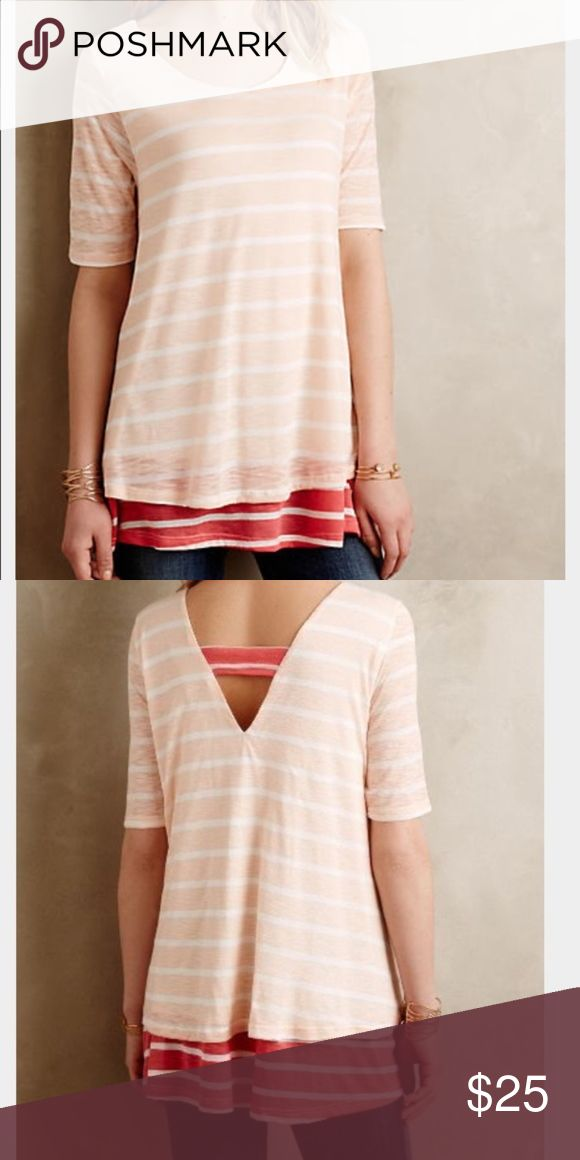 efc259e71be3f Anthropologie Puella Mix Stripe Tunic Anthropologie Puella Stripe Top  V-neck Back Condition: Pre-owned. Normal wear from washing and wearing.