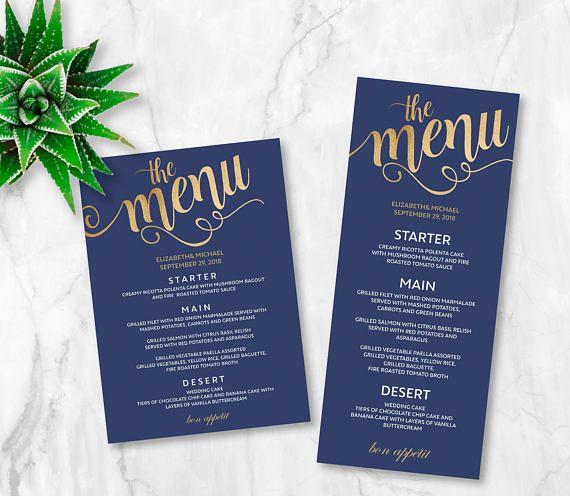 navy gold wedding menu printable wedding menu card navy bl