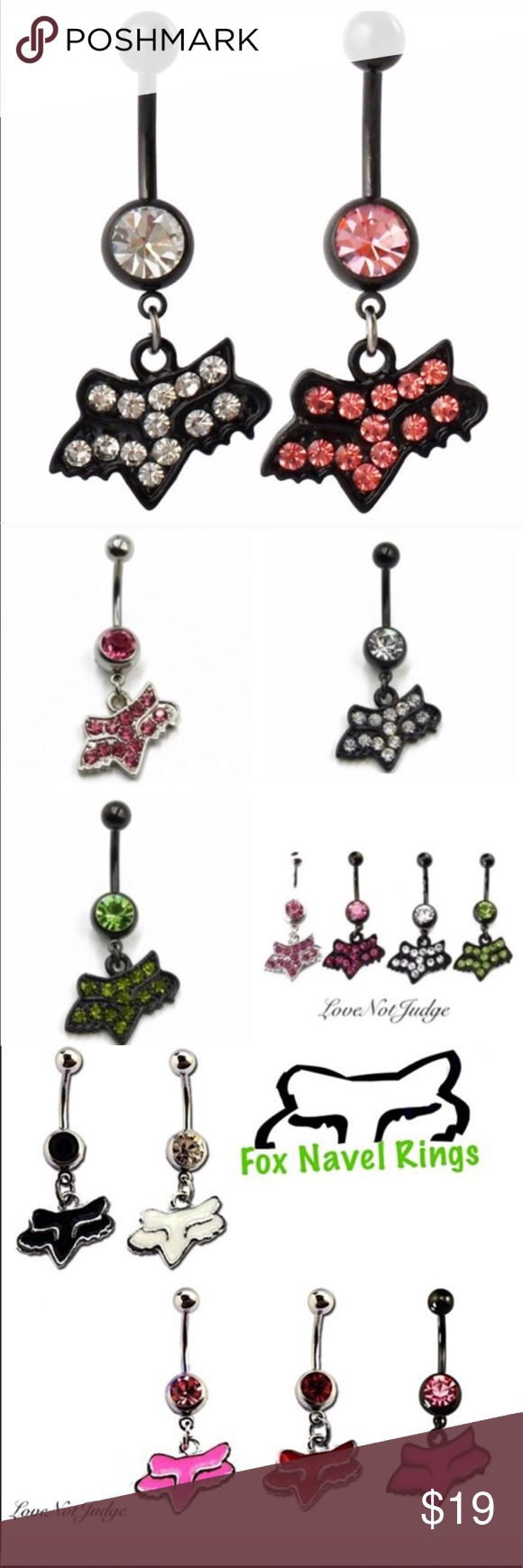 Nwt 2 Set Fox Racing Bling Navel Belly Button Ring Boutique