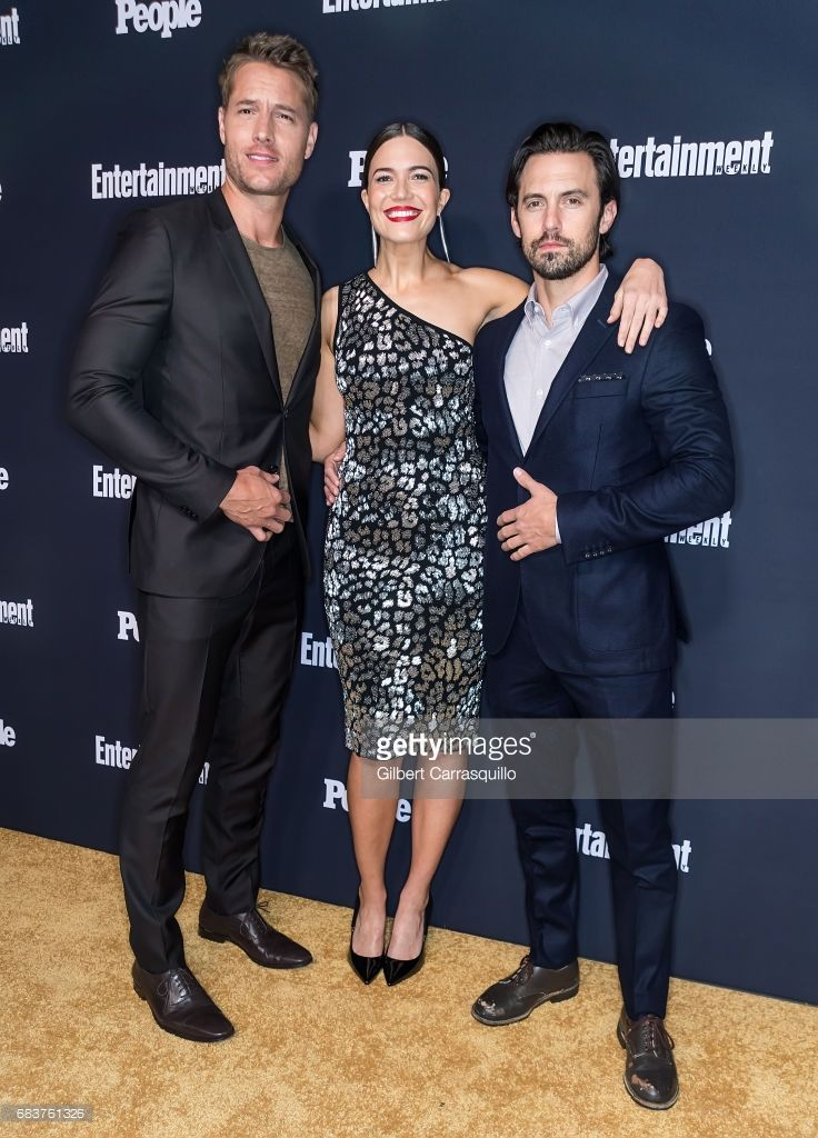 Justin Hartley, Mandy Moore and Milo Ventimiglia of This Is Us attend Entertainment Weekly & People New York Upfronts at 849 6th Ave on May 15, 2017 in New York City.