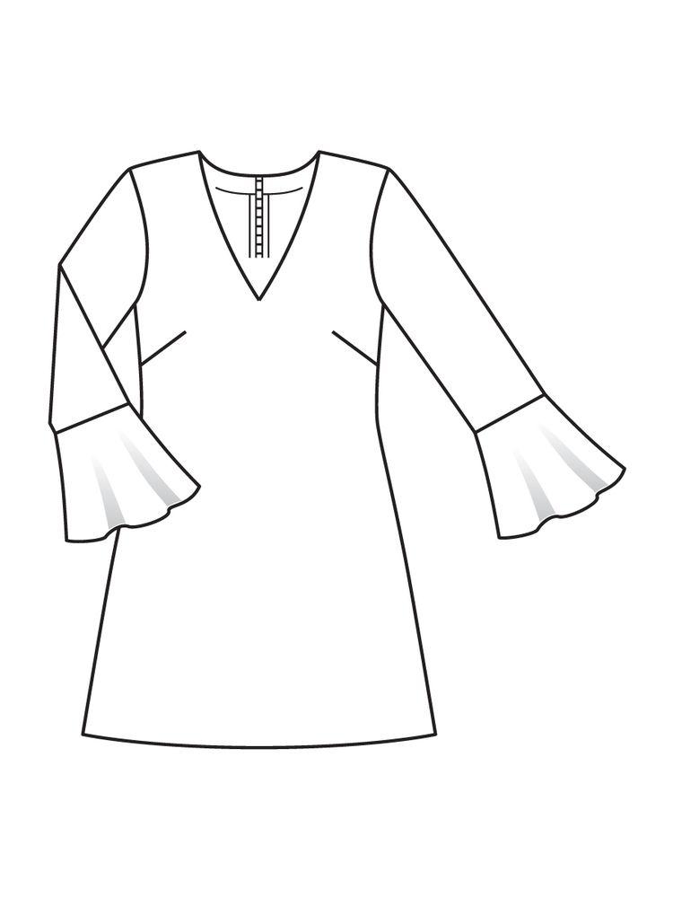 1354f6da132 Платье с V-образным вырезом горловины - выкройка № 112 из журнала 12 2016  Burda – выкройки платьев на