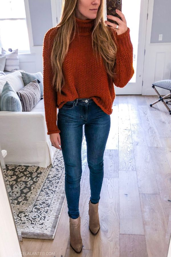 5 Ways to style Skinny Jeans with Angela Lanter. Casual outfit inspiration. #Skinnyjeans #AngelaLanter #styleguide #fashionstyle #fallstyle