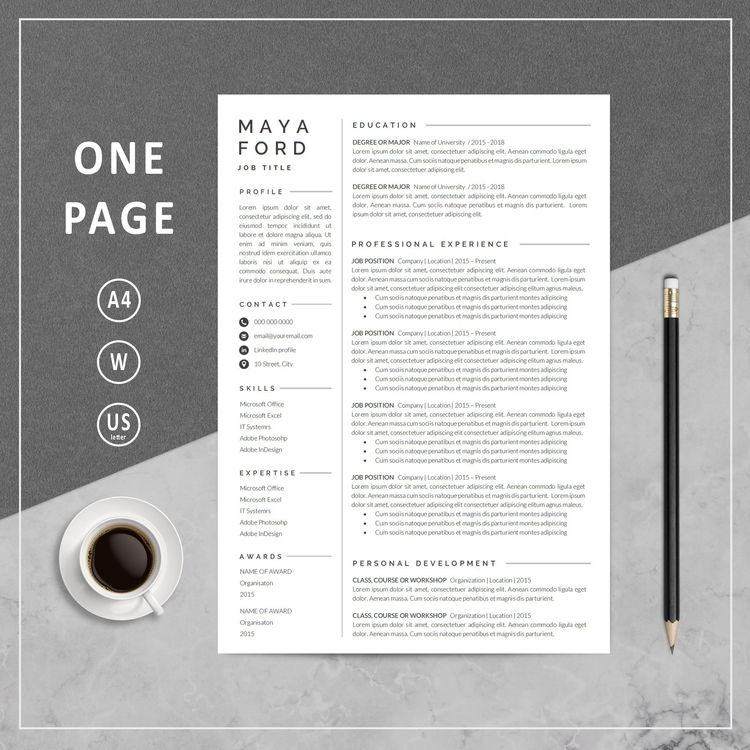 Resume Template One page resume Professional Resume