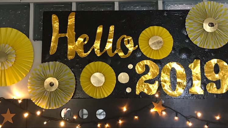 Hello 2019 party banner
