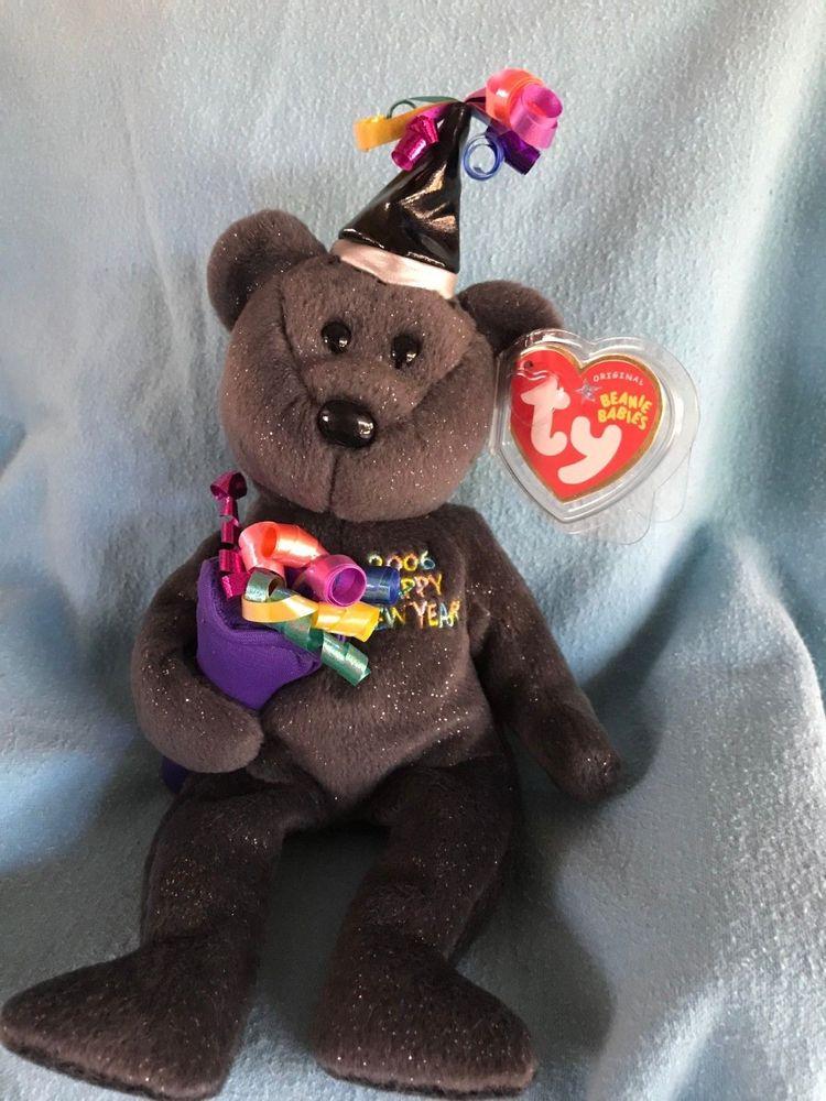 ff3c088e630 Ty Beanie Baby 2006 the Happy New Year bear - MWMT Stuffed Animal