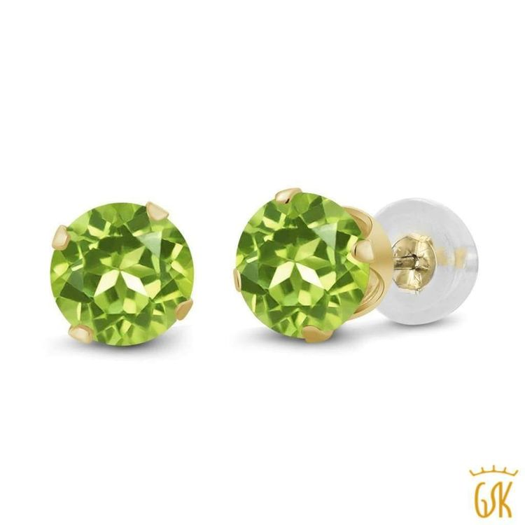 acb1cc0d4 0.60 Ct Round 4mm Green Peridot 14K Yellow Gold Stud Earrings - Free  Shipping In USA