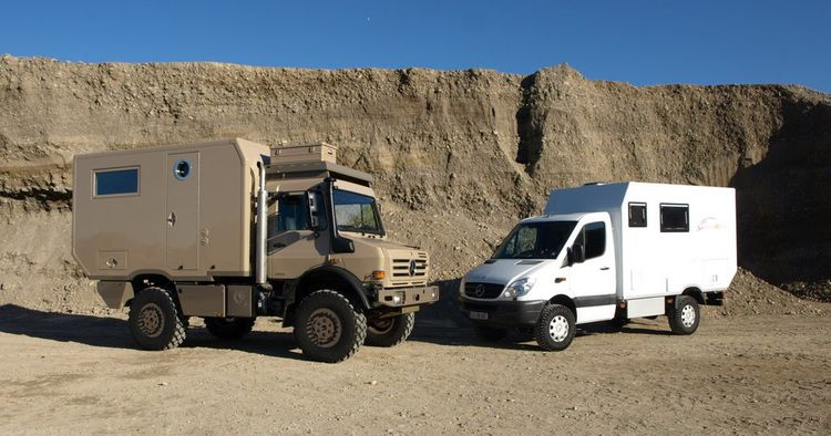 Two Exploryx expedition vehicles: an Exploryx Klippspringer