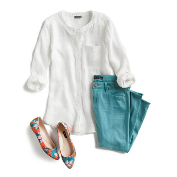 Love the print shoes and turquoise pants, but not sure the shoes would stay on without an instep strap or higher vamp.