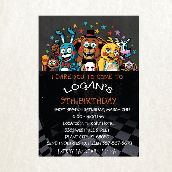 Five Nights At Freddys Invitation Birthday 5 Party Printables FR21