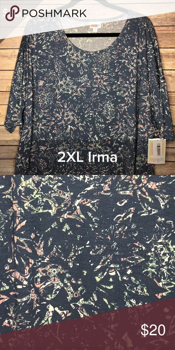 d4d73fee30 LuLaRoe Irma Top 2XL NEW greyish-blue pink print LuLaRoe Irma Top 2XL NEW  with
