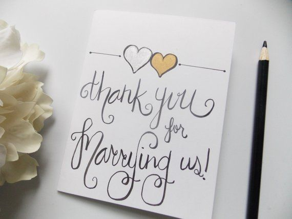 Thank You For Marrying Us Card Officiant Wedding Day Priest Pas