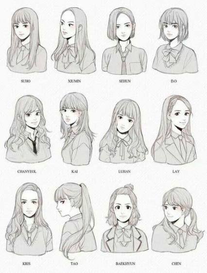 Cabelo Desenho Referência Penteados Anime Meninas 21+ Idéias