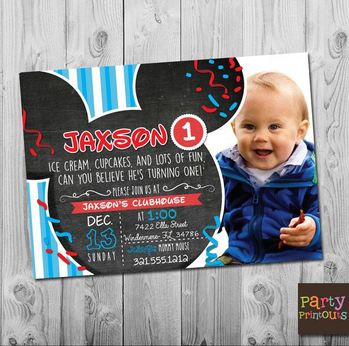 Mickey Mouse 1st Birthday Invitation Printable Clubhouse Party Invitations Boy Girl First Second Third