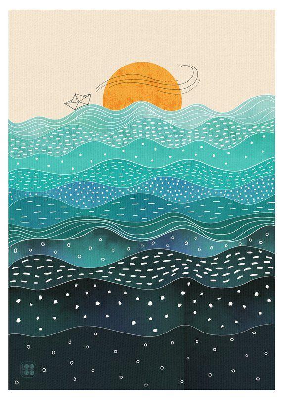 Ocean Illustration Wall Art Sea Water Waves Sunset | Etsy