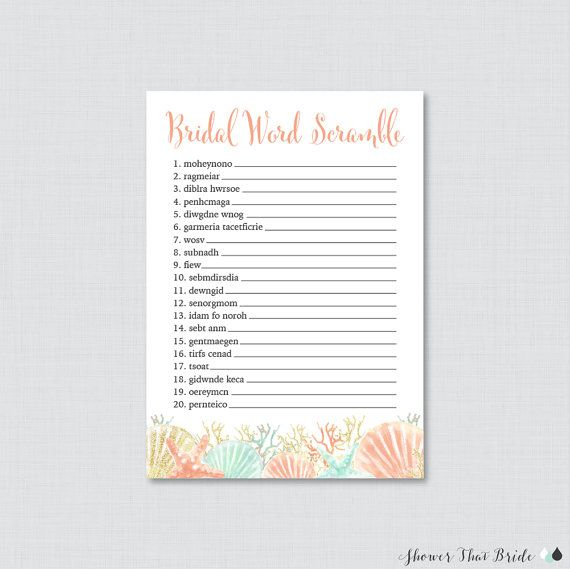 nautical bridal shower word scramble printable beach themed bridal shower game coral and aqua