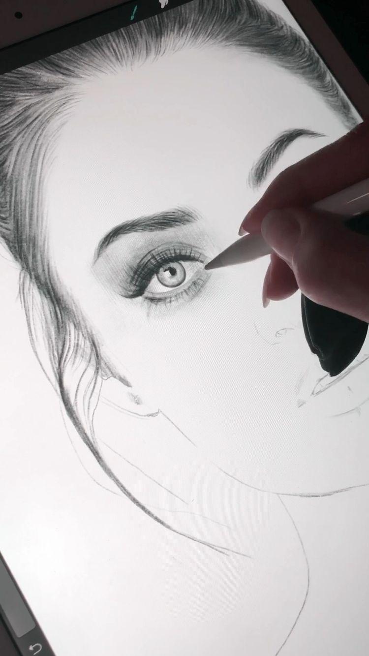 Desenho digital.  Cabelo e olhos