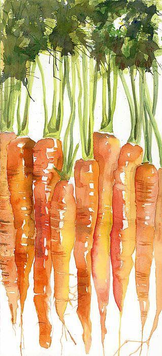 Carrot Bunch Art Blenda Studio Print By Blenda Studio: Watercolor veg art... Love!