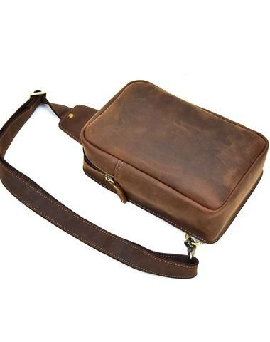 a5fd5e2be0b COOL LEATHER MENS SLING BAG SLING CROSSBODY BAGs CHEST BAG FOR MEN