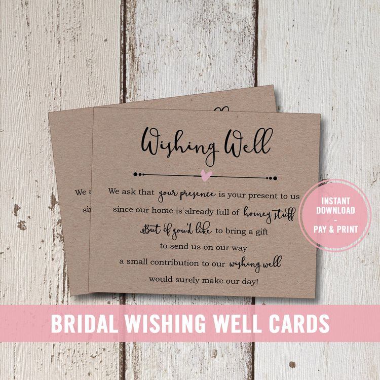 wedding wishing well card printable bridal shower wishing well insert instant download wishing well