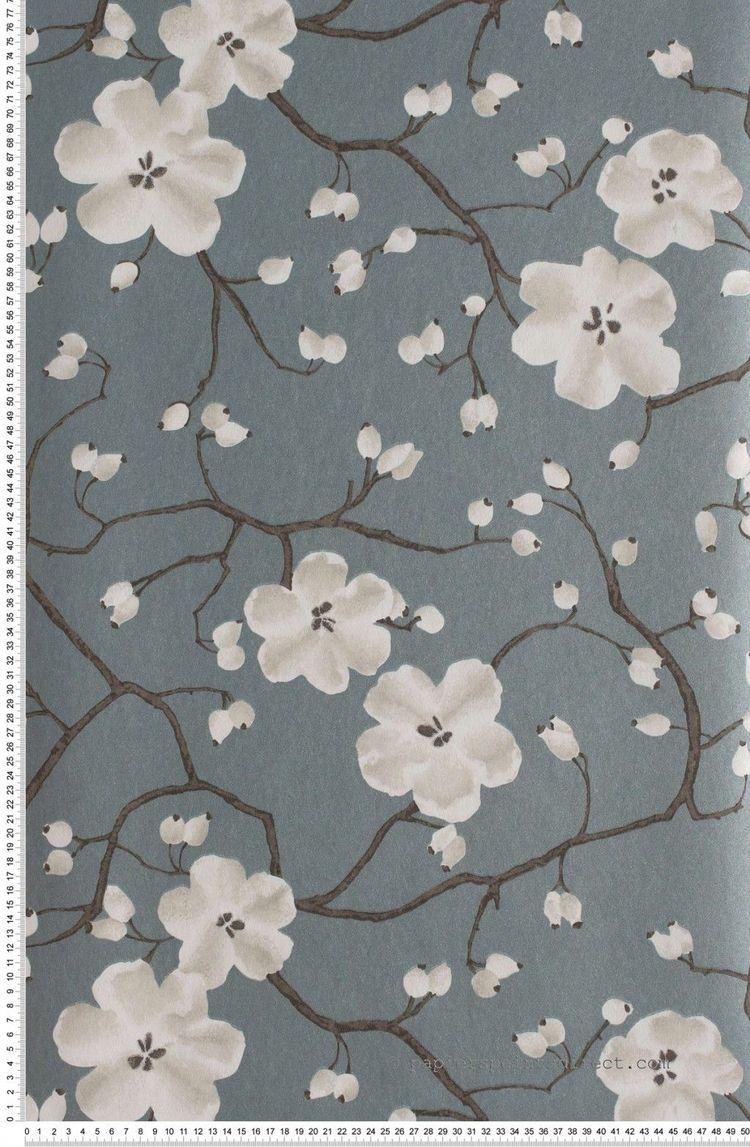 Papier Peint Fleur Vintage Rose Fleurs Noir Et Blanc Bleu B