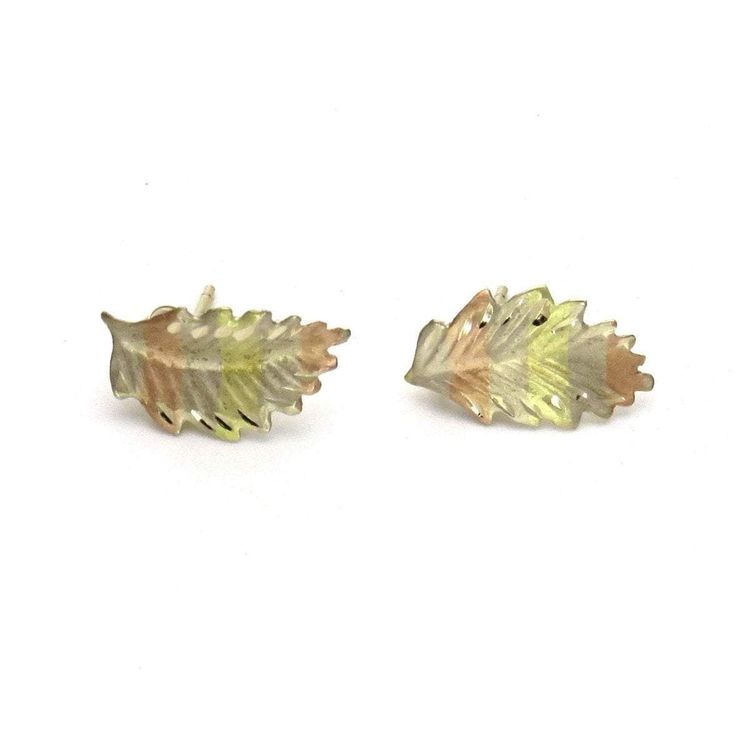 2a662c8f7 Tri-Color 14k Gold Dainty Leaf Post Earrings