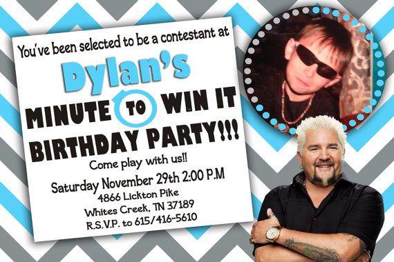custom photo invitations minute to win it birthday invitat