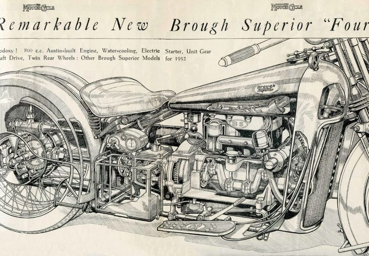 Brough Superior BS4 1929 cutaway illustration   Infographics   Austin Seven straight four engine   via The Vintagent.com