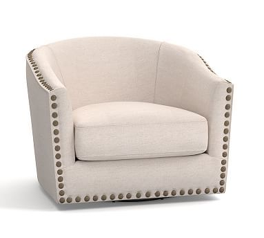 Cool Harlow Upholstered Swivel Armchair With Bronze Nailheads P Beatyapartments Chair Design Images Beatyapartmentscom