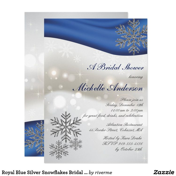 royal blue silver snowflakes bridal shower invitation