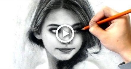 Desenho jovem - estudo de carvão # I-lost-count - desenho vídeo - ferramentas de arte em desc